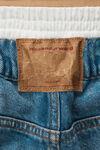 褶饰腰部宽松牛仔短裤