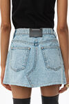 PLEATED DENIM MINISKIRT