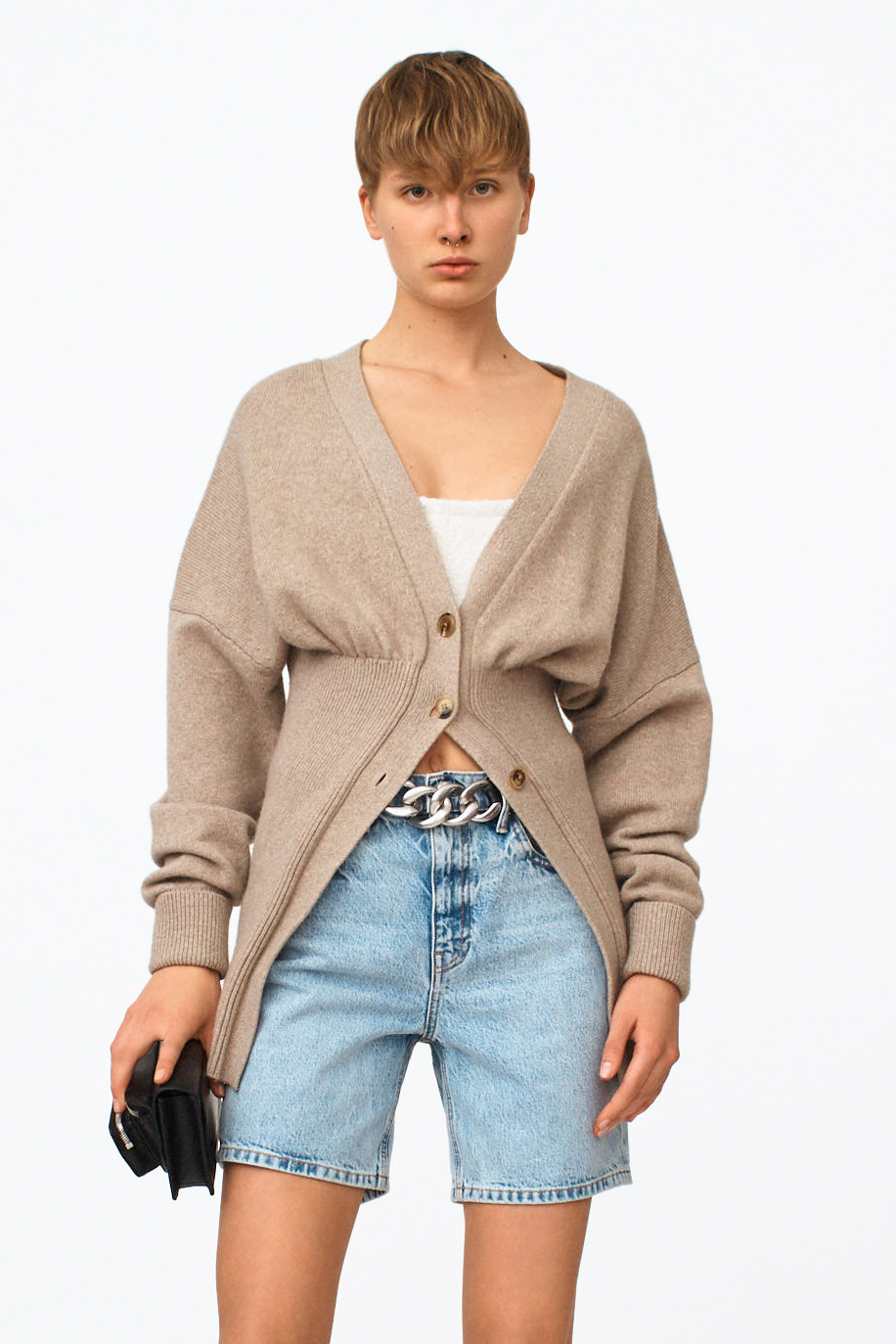 V NECK CARDIGAN FOR WOMEN SEXY PARTY SWEATER  SMOCKED WAIST CARDIGAN