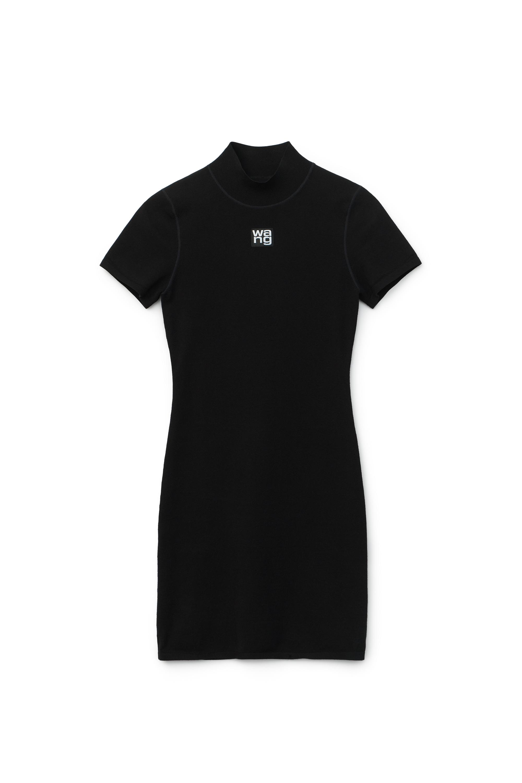 Alexander Wang Bodycon Crewneck Tee Dress In Black