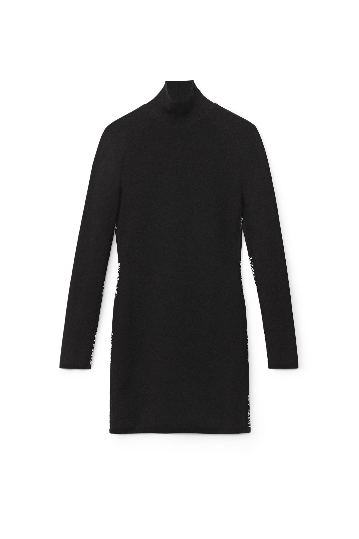 Alexander Wang Logo Jacquard Turtleneck Dress In Stretch Viscose In Black