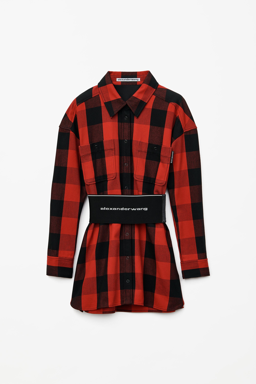 Alexander Wang Dress PLAID SHIRT DRESS WITH ELASTIC WAIST BELT